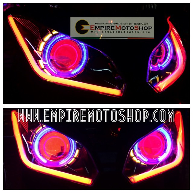 Proyektor  AES6 + Headlamp + Bottom Eyelid Ninja 250 FI