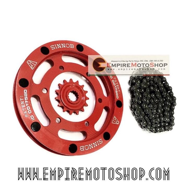 Gear Belakang Rear Sprocket Gear Sinnob Merah Ninja250 Fi